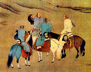 Hunting with eagles - Khitans eagle hunters on horse, (Song Dynasty).