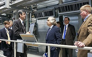 Advisory board - Secretary of Energy Ernest Moniz visits the Oak Ridge National Laboratory's Spallation Neutron Source instrument hall.