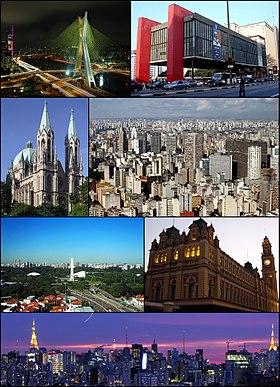 Do topo, da esquerda para a direita: Ponte Octávio Frias de Oliveira; Museu de Arte de São Paulo (MASP) na Avenida Paulista; Catedral Metropolitana de São Paulo; visão geral do centro velho da cidade; Parque Ibirapuera; Estação da Luz e panorama da cidade à noite.