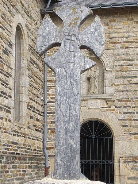 Cemetery cross near the church of Monterrein (Morbihan, France)