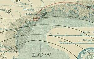 1909 Monterrey hurricane - Image: Monterrey hurricane 1909 08 27 weather map
