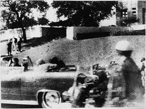Assassination of John F. Kennedy - Polaroid photo by Mary Moorman taken a fraction of a second after the fatal shot (detail).