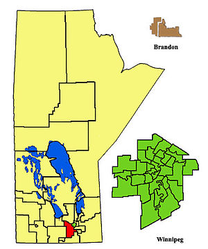 Morris (electoral district) - The 2011- boundaries of Morris highlighted in red.