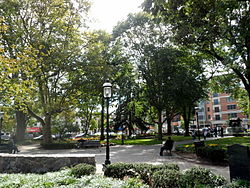 The Green, a historic park, serves as a gathering place and a center of culture within Downtown Morristown.