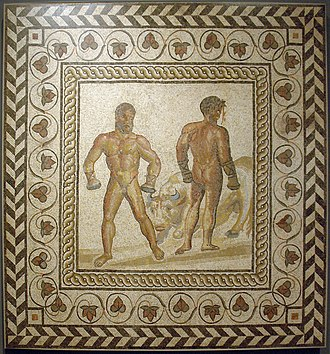 Sports before 1001 - Boxing scene from Vergil's Aeneid, Book 5, when the aging Sicilian champion Entellus defeats the young Trojan Dares, blood spurting from his injured head. Both wear caestūs. Entellus sacrificed his prize, a bull, by landing a great blow to the animal's head. (Mosaic floor from a Gallo-Roman villa in Villelaure, France, ca. 175 AD)