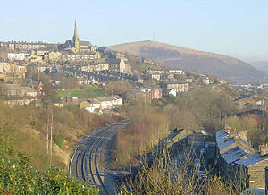 Mossley - View of Mossley from near Mossley railway station.