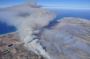 Mount Carmel Forest Fire (2010) - Aerial view of the smoke over Haifa
