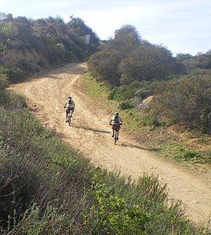 Marvin Braude Mulholland Gateway Park - Mountain Bikers at Southern Terminus of Reseda Drive