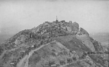 Old black and white photo of the mountain