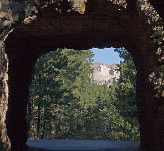 U.S. Route 16A - Mount Rushmore seen from a tunnel on US 16A