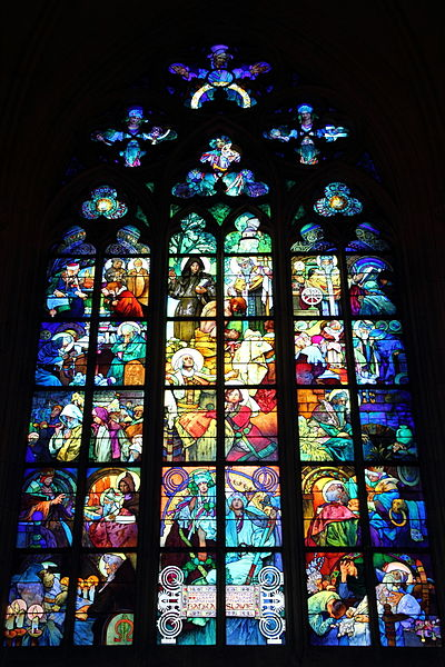 Файл:Mucha stained glass windows in St. Vitus Cathedral.JPG