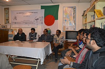 Muhammad Nurul Islam speaks about effects of Wikipedia at BNWIKI12 celebration in Chittagong (01).jpg