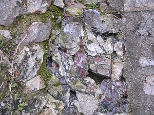 Vitrified fort - Fragment of vitrified wall at Sainte Suzanne (Mayenne)