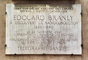 Édouard Branly - Plaque at the Musée Édouard Branly on rue d'Assas in Paris