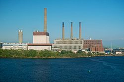 Mystic Generating Station from across the Mystic River