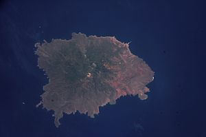 Revillagigedo Islands - Socorro as seen from space. North is to the upper left corner.