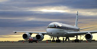 Operation IceBridge - The NASA DC-8 sits on the Punta Arenas airport ramp during pre-flight procedures during the 2012 Antarctic campaign