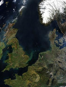 Satellite image of the North Sea