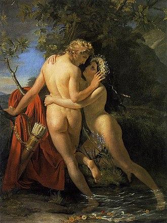 Salmacis - The Nymph Salmacis and Hermaphroditus by François-Joseph Navez (1829)