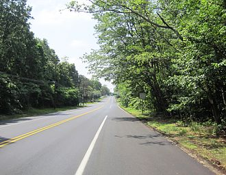 New Jersey Route 68 - Southbound two-lane undivided section of Route 68 near Fort Dix