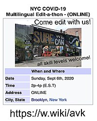 NYC COVID-19 Multilingual Wikipedia Edit-a-thon - ONLINE - hosted by Sure We Can.jpg