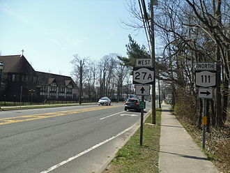 New York State Route 27A - NY 27A westbound at the junction with NY 111 in Islip