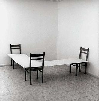 Want of Matter - Corner (1974) by Nahum Tevet. Industrial paint on plywood, and chairs, Measurements variable. Tel Aviv Museum of Art