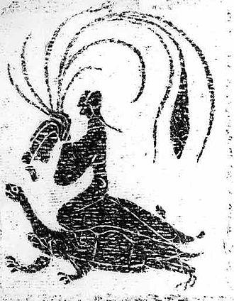 Xian (Taoism) - An immortal riding a tortoise. A Han Dynasty painting