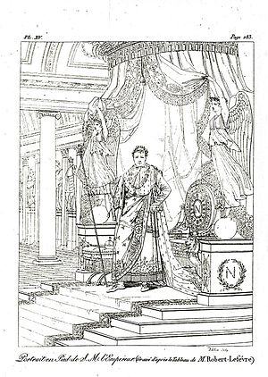 Robert Lefèvre - Engraving of Robert Lefèvre's Portrait of Napoleon in his coronation costume, engraving in the treatise by the Pausanias français after the exhibition of this portrait at the 1806 Salon at the same time as Ingres's Napoleon I on his Imperial Throne