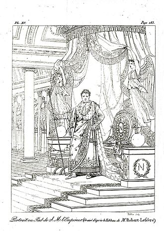 Napoleon I on His Imperial Throne - Engraving of Roger fever's Portrait of Napoleon in his coronation comsty, engraving in the treatise by the Pausanias français.