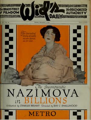 Billions (film) - Image: Nazimova in Billions by Ray C. Smallwood Film Daily 1920
