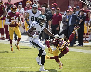 Nelson Agholor - Agholor breaking a tackle before scoring a touchdown against the Washington Redskins in 2017