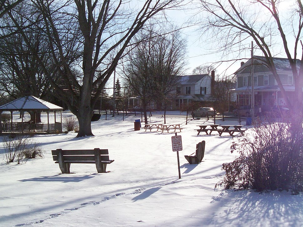 New Haven, Vermont town green in winter