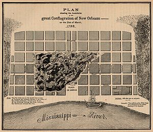 Great New Orleans Fire (1788) -  Great New Orleans Fire (1788): map showing area in flames, behind Plaza de Armas (Jackson Square) to Burgundy Street.