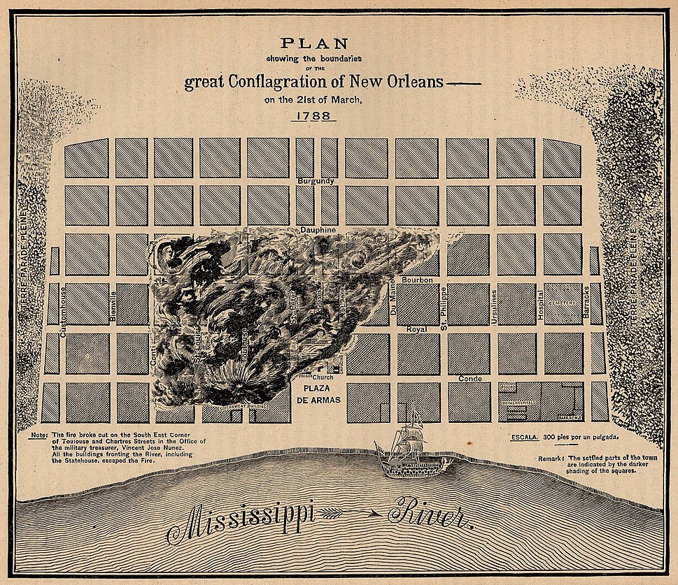 New Orleans fire of 1788 map