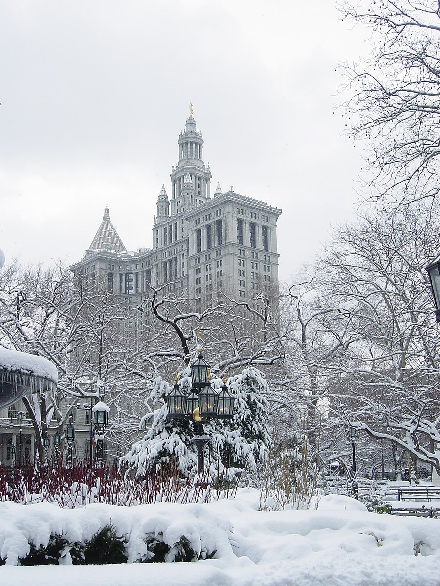 City Hall Park NYC Snowing