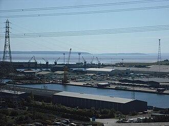 Newport Docks - The modern docks from the Transporter Bridge