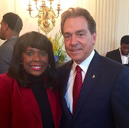 U.S. Rep. Terri Sewell and Saban in 2017 Nick Saban and Terri Sewell.jpg