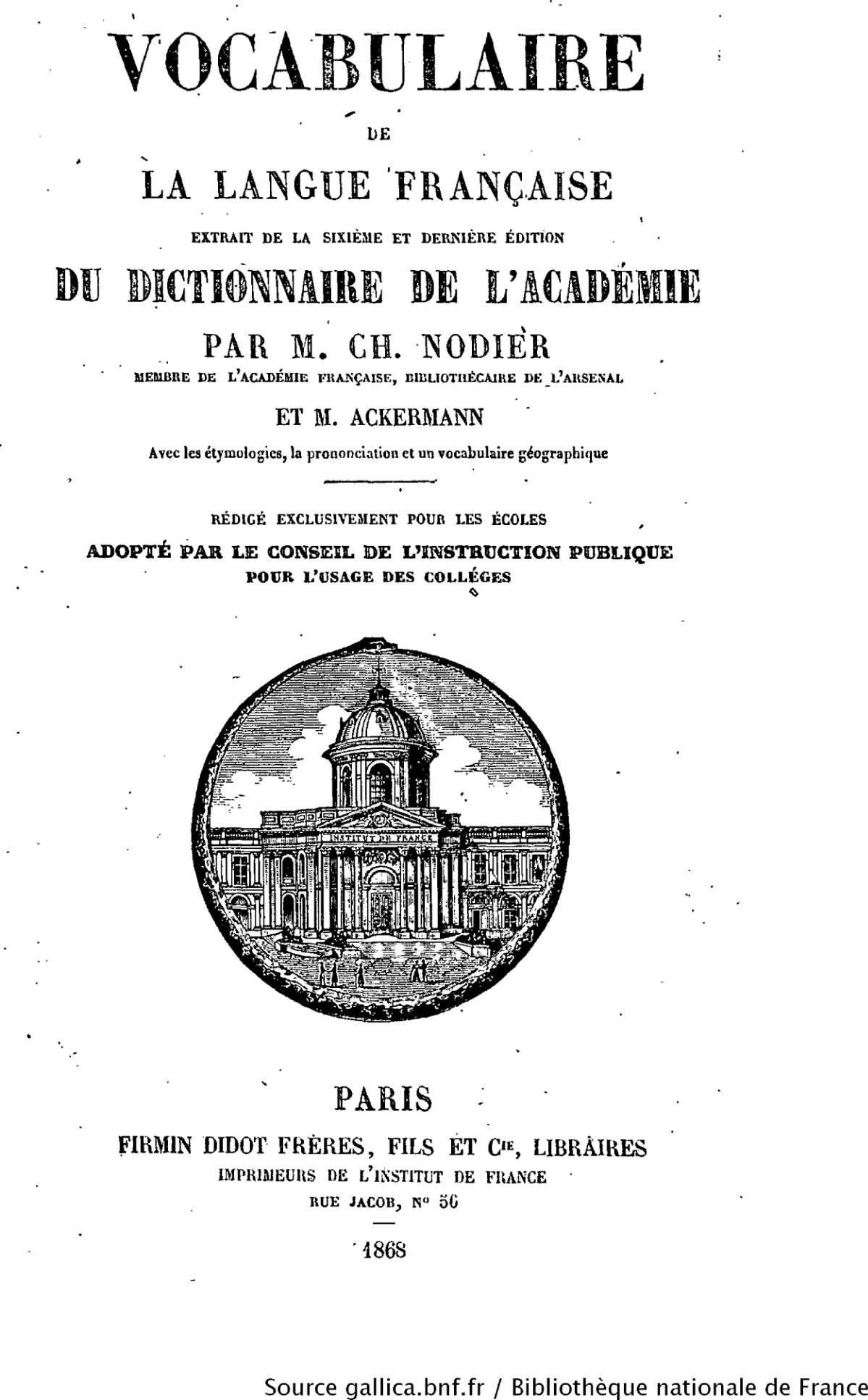 Dictionnaire de l acad mie fran aise wikipedia - Dictionnaire de l office de la langue francaise ...