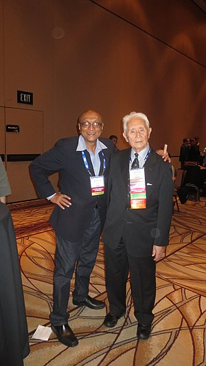 Thomas Noguchi - Thomas Noguchi (in white hair) with his Indian forensic pathologist friend Anil Aggrawal, at AAFS, 2016 conference at Las Vegas