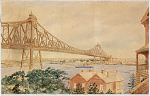 Watercolour drawing of the bridge design looking South East from North Sydney towards Circular Quay, with houses in the foreground and a steamship passing under the main span of the iron-lattice bridge with two pylons to illustrate the large scale.