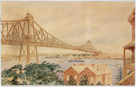 Norman Selfe's winning design at the second competition c.1903 Norman Selfe proposal for Sydney Harbour Bridge.jpg