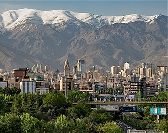 Tehran, capital and largest city of Iran, and the capital of the Persian empires in the last two centuries North of Tehran Skyline view.jpg