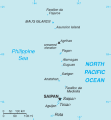 Island chain running from north to south. Islands of Saipan and Aguijan to the southern end of the chain