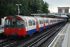 A westbound Piccadilly line train at Northfields, formed of a six-car 1973 stock.