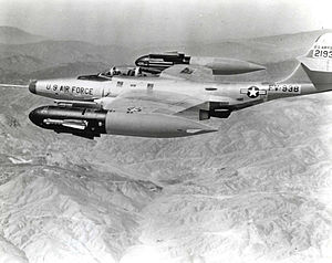 Northrop F-89 Scorpion - F-89H showing its GAR-1/2 Falcon missiles extended from the wingtip pods