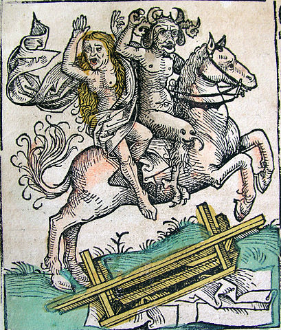 Nuremberg Chronicles - Devil and Woman on Horseback (CLXXXIXv) / via Wikimedia Commons