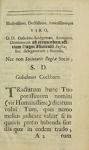 William Cockburn (physician) - Dedication of Œconomia Corporis Animalis (1695) by William Cockburn