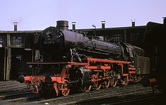 DRB Class 41 - Oil-burning 042 (=041) class 2-8-2 at Rheine shed, Easter 1974