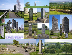 "Old Kilcullen - Images of Old Kilcullen in postcard form, including the Round Tower and the ""plain"" and decorated High Crosses"